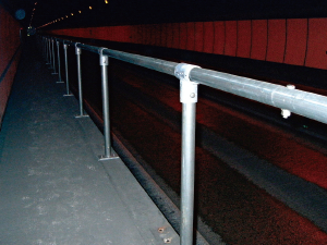 Handrail in tunnel